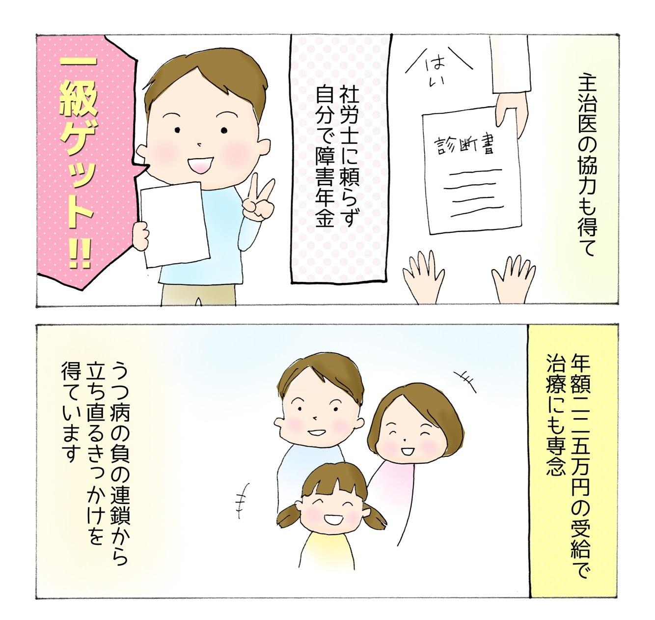 【うつ病障害年金漫画】障害年金を申請して1級を受給